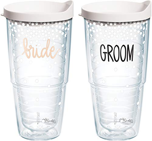 Tervis 1333044 Coton Colors Bride Groom Tumbler with Lid, 24 oz, Clear