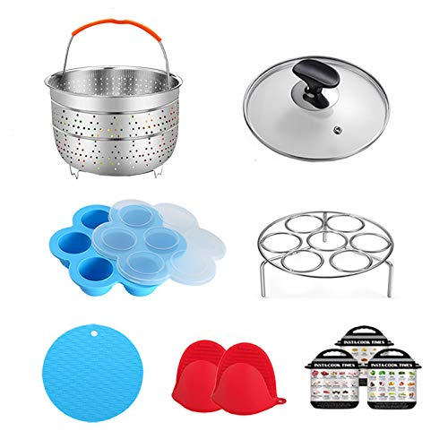 ULEE 7-Piece Accessories for Instant Pot 3 Qt - Including Steamer Basket, Tempered Glass Lid, Silicone Stretch Lid, Egg Rack, Oven Mitts, Magnetic Cheat Sheet and Spoon Rest