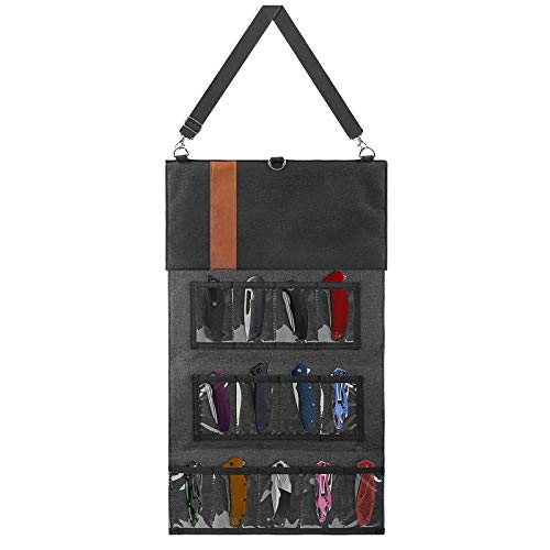 LinkIdea Pocket Knife Display Case, Tactical Knives Roll Bag, Folding Small Knife Storage Pouch, Camping Knife Organizer Carrying Bag with 18 Slots