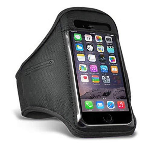 i-Tronixs Sportarmband mit Schlüsselhalter für Fitnessstudio, Laufen, Radfahren, Wandern, Joggen, kompatibel mit Wiko Selfy 4G, Schwarz
