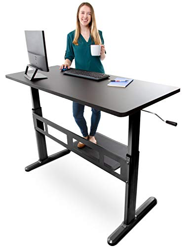 Tranzendesk Standing Desk by Stand Steady | 55 inch Crank Adjustable Stand Up Workstation (Black Top/Black Frame)