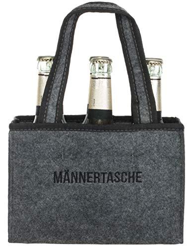 Brandsseller Herren Handtasche Flaschenkorb Flaschenträger Einkaufstasche Aufbewahrungstasche - aus Filz - für 6 Flaschen - Grau-Männertasche