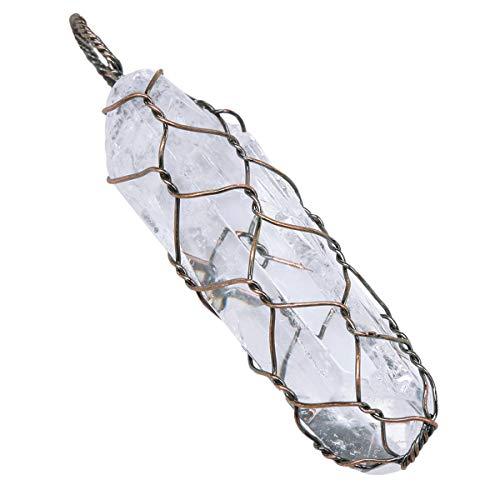Mookaitedecor - Collana con ciondolo in cristallo di roccia, con punta di protezione naturale, per donna e uomo e Rame, colore: bianco, cod. PLAYNUM0005502