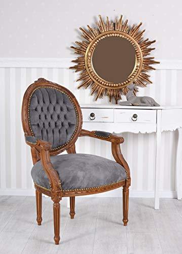 Silla con reposabrazos (terciopelo Sillón barroco brazo lehnsessel barroco silla Antiguo silla medallón Palazzo Exklusiv