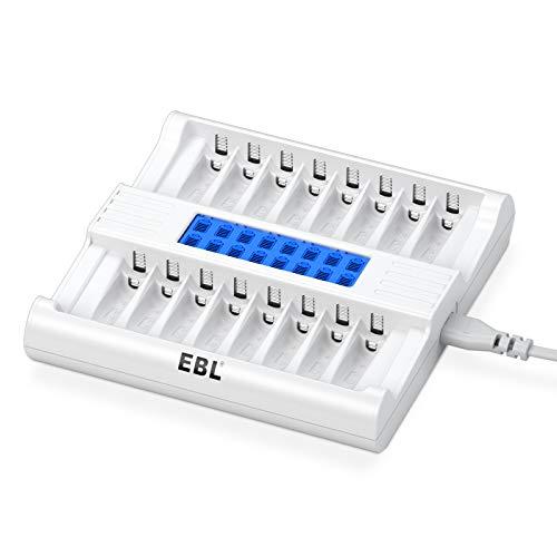 EBL LCD Chargeur de Piles Rapide- Chargeur de Piles 16 Slots Ultra Rapide pour AA AAA Piles Rechargeables Ni-MH, avec Technologie de Détection de Piles, avec Grande Écran LCD à Haute Définition