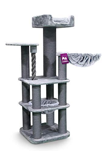 Petrebels Tiragraffi XXL Panorama 172 cm grigio Maine Coon albero tiragraffi per gatti di grandi dimensioni, con gioco da gioco, lettino XXL e divano top