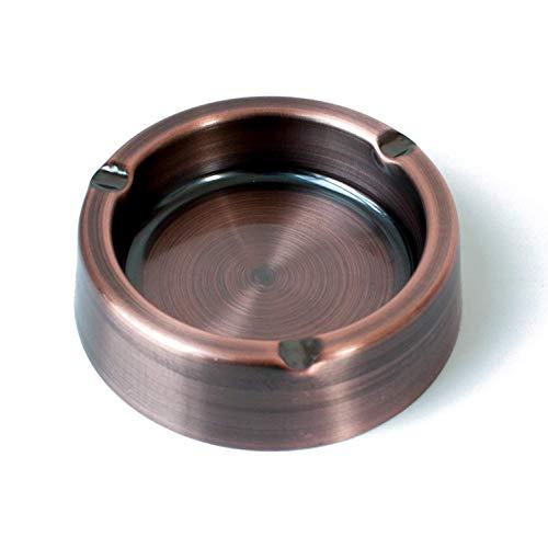 KACT Cenicero clásico de acero inoxidable para cigarrillos, ceniceros de metal vintage (tamaño 4,3 pulgadas)
