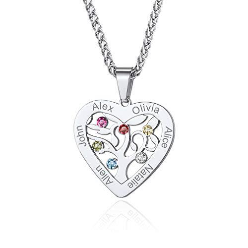 Custom4U Mum Necklace with Engraved Kids Name