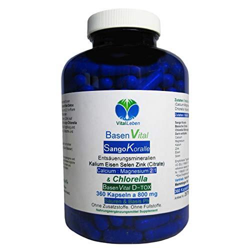 BasenVital Säure-Basen-pH-Balance - BASENPULVER 360 Kapseln - Sango + Calcium + Magnesium + Eisen + Kalium + Selen + Zink organische CITRATE & CHLORELLA - OHNE Zusatzstoffe. 26755-360