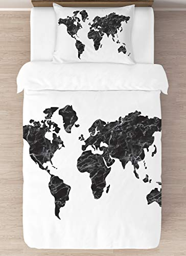 KB & Me Bettwäscheset mit Bettbezug und Kissenbezügen, Marmor, Motiv Weltkarte, Schwarz / Weiß, 2-teilig