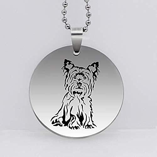 Collar Colgante De Perro De Yorkshire Terrier De Acero Inoxidable Personalidad Animal Perro Collar Regalo para Mujeres