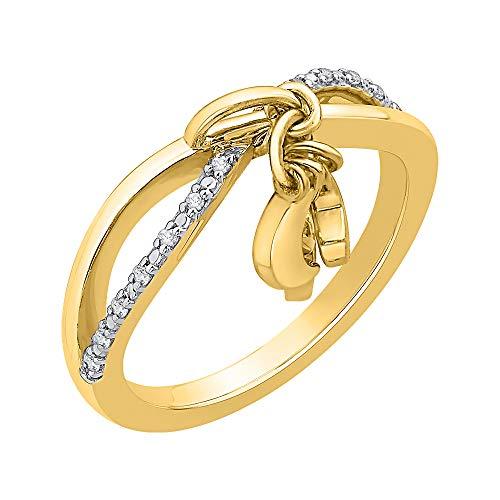 KATARINA Anillo de luna y estrella entrelazados con diamantes en oro de 14 k (1/10 cttw, J-K, SI2-I1)