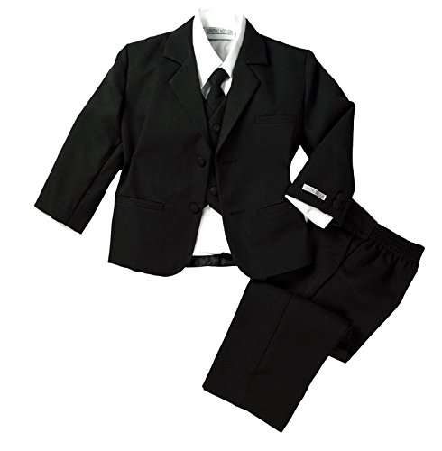 Dressy Daisy Baby Boys' Classic Fit Tuxedo Suit with Tail 5 Pcs Set Formal Suits Wedding Outfit Size 9-12 Months Black
