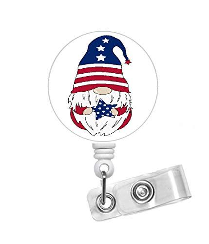 Gnome 4th of July Badge Reel - USA Badge Holder - Badge Reel - Name Badge Holder - Name Tag Holder - Nursing Badge - Nurses Badge Holder - Patriotic ID (Alligator Swivel Clip)