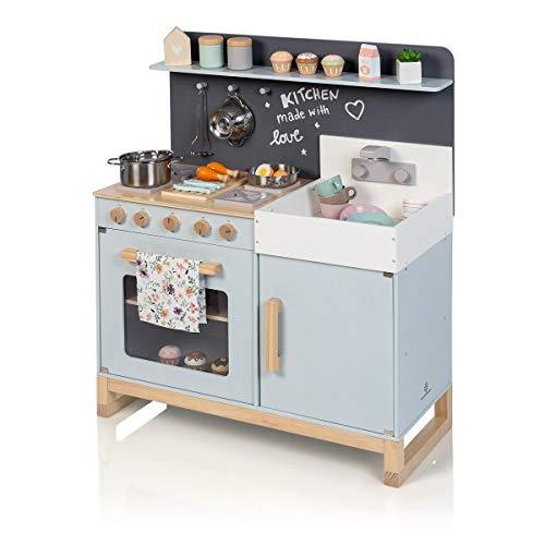 MUSTERKIND Spielküche Linum, graublau/Natur aus Holz - Kinderküche