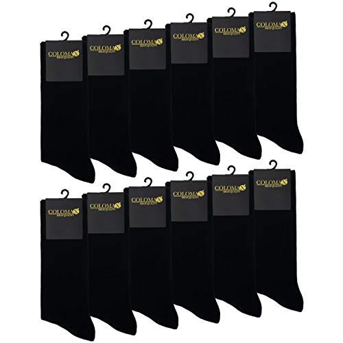 COLOMAX Bambus Socken für Damen und Herren Business und Freizeit 12 paar, Schwarz, 43-46