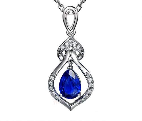 AueDsa Colgante de Mujer Azul Collar Mujer Oro Blanco 18K Gota de Agua con Pera Zafiro Azul 1.02ct