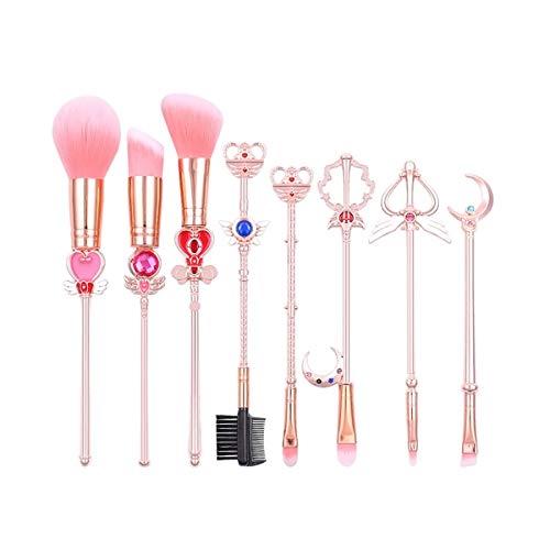 AimdonR Lot de 8 pinceaux de maquillage en or rose sakura/sailor moon pour fond de teint cosmétique et ombre à paupières