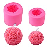 OBTANIM 2 Pcs Silicone 3D Bloom Rose Flower Shaped Fondant Candle Mold Soap Mold for Chocolate Candle Handmade Wax