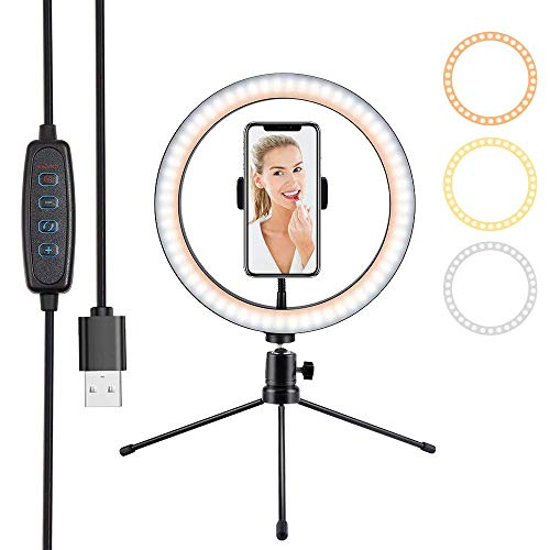 Invullicht Selfie Stick Statief Fotografie 6/8/10 inch Tafel LED Ring Light Youtube Video Live 3500-5500k Fotogalerij Make-up Tafel Selfie Ring Light