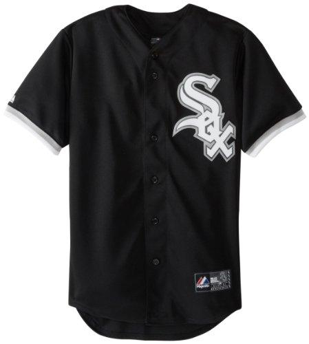 Majestic MLB Men's Chicago White Sox Alexei Ramirez Black Alternate Short Sleeve 6 Button Synthetic Replica Baseball Jersey (Black, Medium)