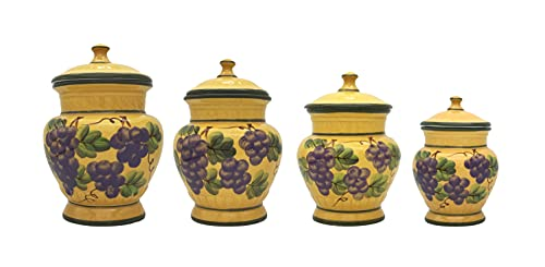 Tuscany Grape Hand Painted Ceramic 4pc Canister Set, 82501 by ACK