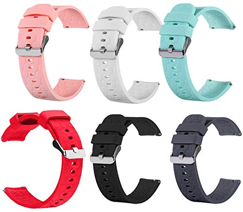 TenCloud 6-Pack Bands Compatible with Letsfit Smart Watch ID205L, 19mm Wrist Strap Quick Release Waterproof Soft Silicone Replacement Band for LetsfitID205L Smartwatch