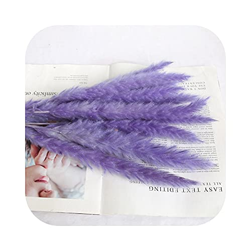 Fake Flower Pampa Grass, Large Natural Bunch Plant Wedding Decoration Bouquet of Dried Flowers for Table Home Decoration – Purple-15 Pieces About 60 cm