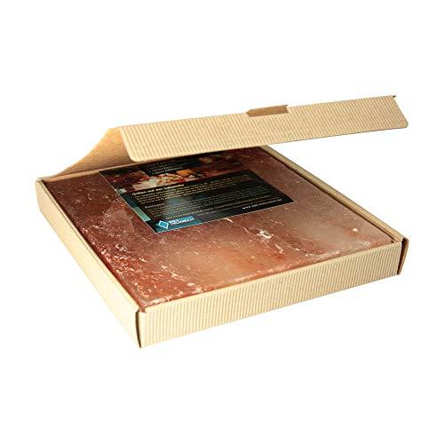 1 Salzstein (im fertigen Geschenkkarton) BBQ Salzplatte zum Grillen (2.2kg) 20x20x2,5cm; Salzhändler seit 1855