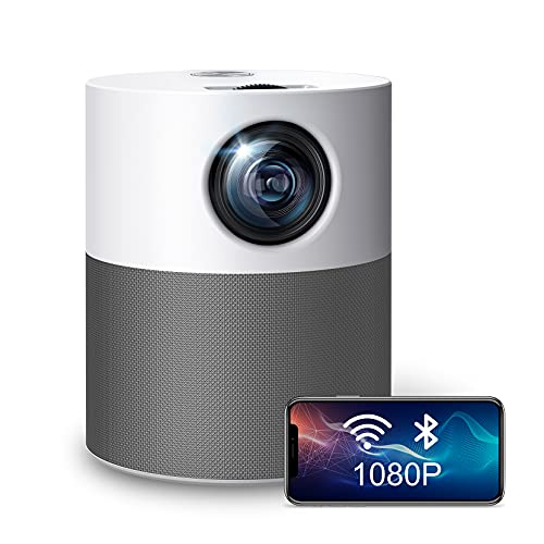 Mini Projector, Upgraded Native 1080P Smart WiFi Projector, 7000LUX Video Projector for Home Entertainment and Office Powerpointer , Portable Projector Compatible with Mac, iOS and Android System