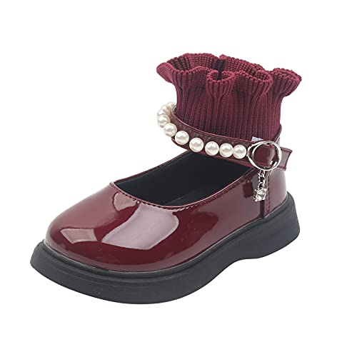 Zapatos de princesa de piel para niña, niño, con perlas, antideslizantes, Mary Jane, Vino, 23