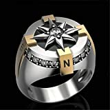 QAZXCV Kreative Zwei Ton Kompass Ringe Punk Ringe Für Männer Elegante Sonnenblume Zirkon Ring Herren Schmuck Geschenk,12