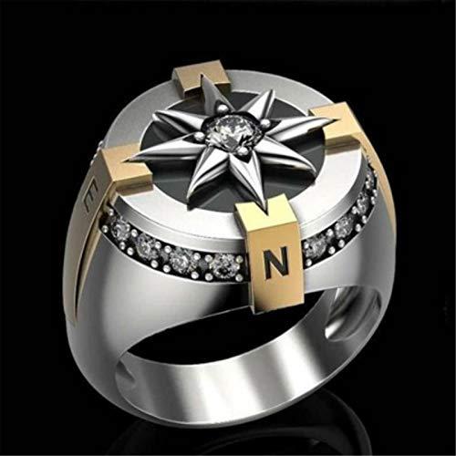 QAZXCV Kreative Zwei Ton Kompass Ringe Punk Ringe Für Männer Elegante Sonnenblume Zirkon Ring Herren Schmuck Geschenk,13