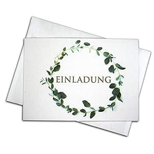 """15 Einladungskarten & 15 Umschläge & 15 Sticker – Klappkarten SET""""Eukalyptus"""", Geburtstag, Hochzeit, Taufe, Konfirmation, Kommunion, Einladung, Fest, Erwachsene, blanko"""