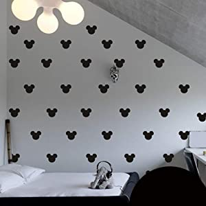 2×1.6 Set of 150 Mickey Mouse Head Inspired Ears Polka Dot Wall Decal Decor Decals Sticker Art Baby Nursery Surface Graphics Bedroom Bed M1603 Made in USA