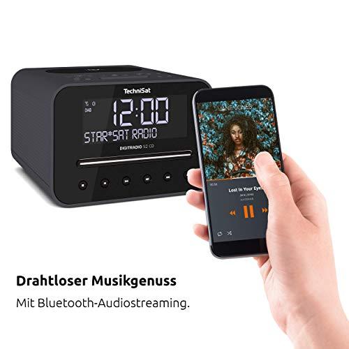 TechniSat Digitradio 52 CD Stereo DAB Radiowecker mit zwei einstellbaren Weckzeiten (DAB+, UKW, Snooze, Sleeptimer, dimmbares Display, Bluetooth, Wireless-Charging Funktion, CD-Player) schwarz