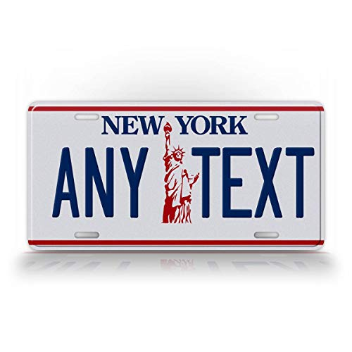 SignsAndTagsOnline Custom New York Liberty License Plate Any Text Personalized NY Auto Tag Aluminum Metal Statue of Liberty License Plate