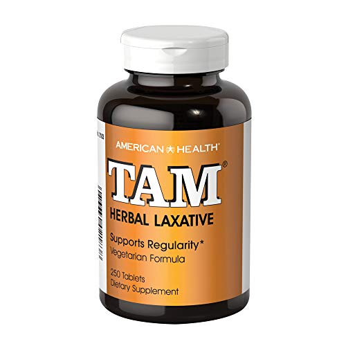American Health Tam Herbal Laxative Tablets - Supports Regularity, Eases Occasional Constipation - Non-GMO, Gluten-Free, Vegan - 78 mg Cascara Sagrada - 250 Count, 125 Total Servings