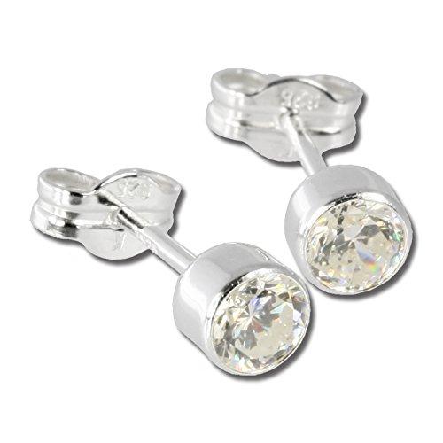 SilberDream Ohrringe 5mm für Damen 925 Silber Ohrstecker Zirkonia weiß SDO503W
