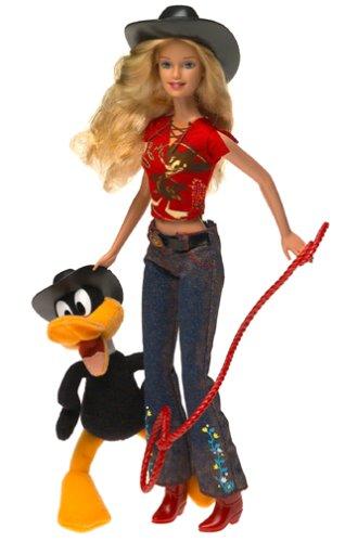 Looney Tunes Back in Action Barbie Loves Daffy Duck El Pato Lucas Patolino con 6 pulgadas de felpa Daffy Duck y Barbie en traje occidental (2003)