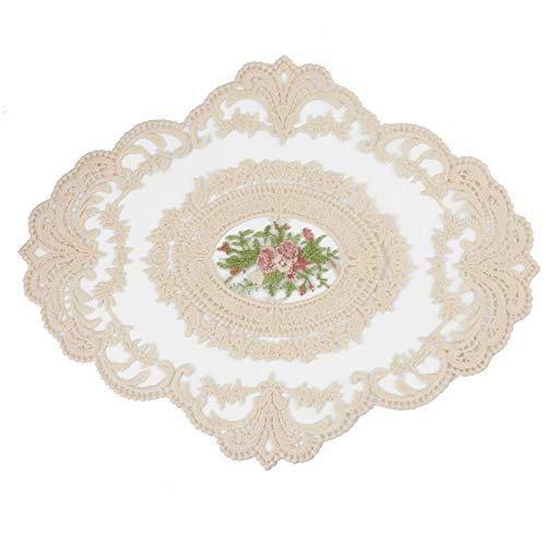 Tinsow Lace Doily Cotton Table Runner Crochet Table Mats Vintage Lace Doilies (Beige, 1)
