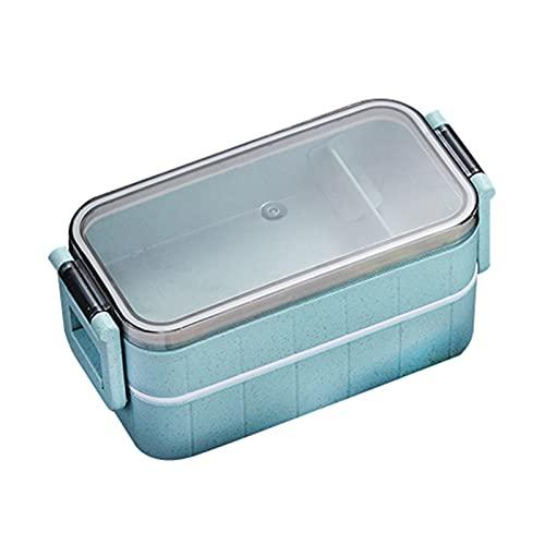 GYY Microondas Doble Capas Almuerzo Caja De Trigo Paja Cajas Microondas Vajilla Almacenamiento Alimento Contenedor Caja De Comida Escuela (Color : Blue)