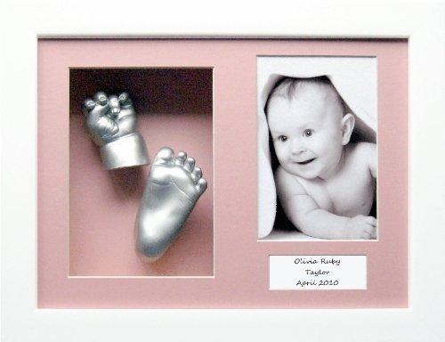 Anika-Baby Kit de moulage pour bébé Cadre boîte 3 ouvertures Blanc Passe-partout rose/peinture argenté 29,1 x 21,6 cm
