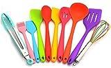 AYCPG Lucar - Juego de utensilios de cocina de silicona, resistente al calor, multicolor, incluye cepillo, pinzas, espátula grande, espátula, cucharón, cuchara para hornear, batidor y pequeño spa