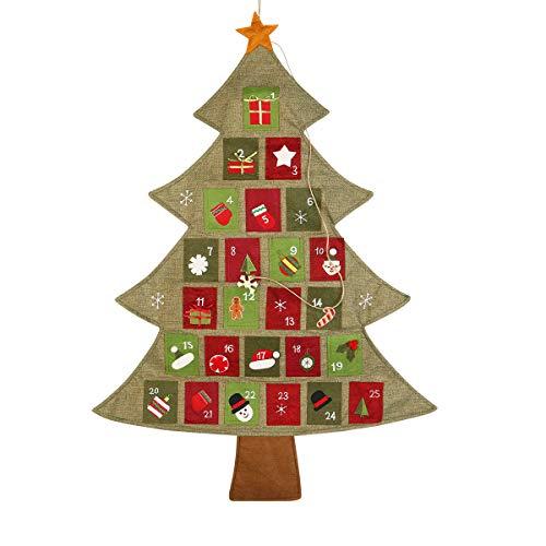 BESTonZON Calendrier de l'avent de Noël Calendrier de l'arbre de Noël Compte à rebours de Noël, 64cm par 89cm