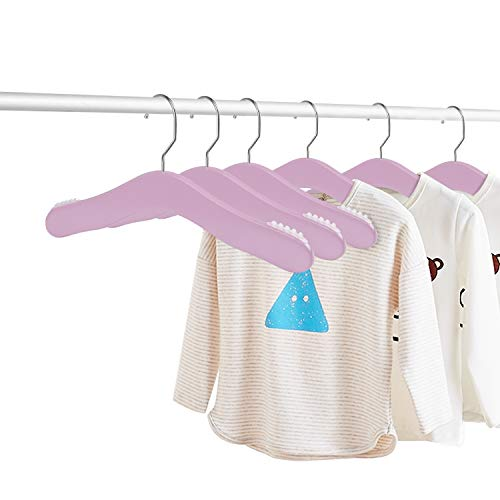 ZriEy Perchas Infantiles, Percha de Ropa de Muñecas Suspensión de Madera, Diseño Ultra Delgado y Sin Deslizamiento Paquete de 6 (púrpura)