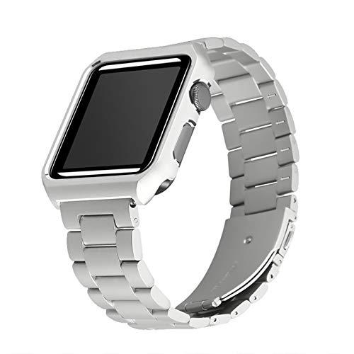 YGGFA Stainless Steel Strap+Case For apple watch 6 SE 5 4 band 40mm 44mm Metal bracelet Bumper frame Cover for iwatch band 38mm 42mm (Band Color : Silver, Band Width : 42mm)