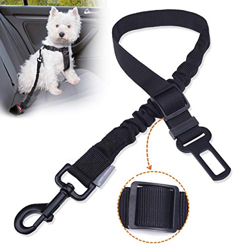 Vivaglory Dog Car Harness, Durable Dog Safety Belt with Bungee Buffer for Shock Absorbing, Adjustable Car Seat Belt for Medium & Large Dogs, L