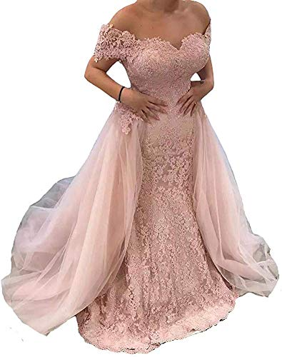 Melisa Women's Off The Shoulder Lace Mermaid Wedding Dresses for Bride with Detachable Train Long Bridal Ball Gowns Blush Pink
