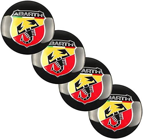 Tapacubos de 4 ruedas, cubierta de moldura de rueda impermeable y a prueba de polvo, cubierta de rueda de aleación de aluminio con logotipo de automóvil, Fiat 500 Punto Bravo Stilo Panda Abarth